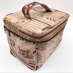 Newspaper Print Travel Makeup Bag